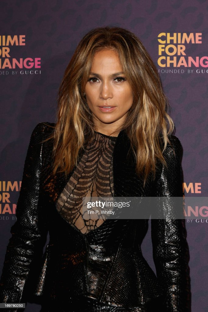 Singer <a gi-track='captionPersonalityLinkClicked' href=/galleries/search?phrase=Jennifer+Lopez&family=editorial&specificpeople=201784 ng-click='$event.stopPropagation()'>Jennifer Lopez</a> poses backstage in the media room at the 'Chime For Change: The Sound Of Change Live' Concert at Twickenham Stadium on June 1, 2013 in London, England. Chime For Change is a global campaign for girls' and women's empowerment founded by Gucci with a founding committee comprised of Gucci Creative Director Frida Giannini, Salma Hayek Pinault and Beyonce Knowles-Carter.
