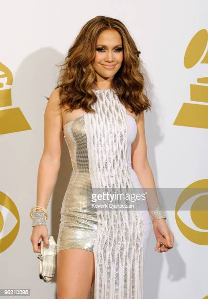 Singer Jennifer Lopez poses in the press room during the 52nd Annual GRAMMY Awards held at Staples Center on January 31 2010 in Los Angeles California