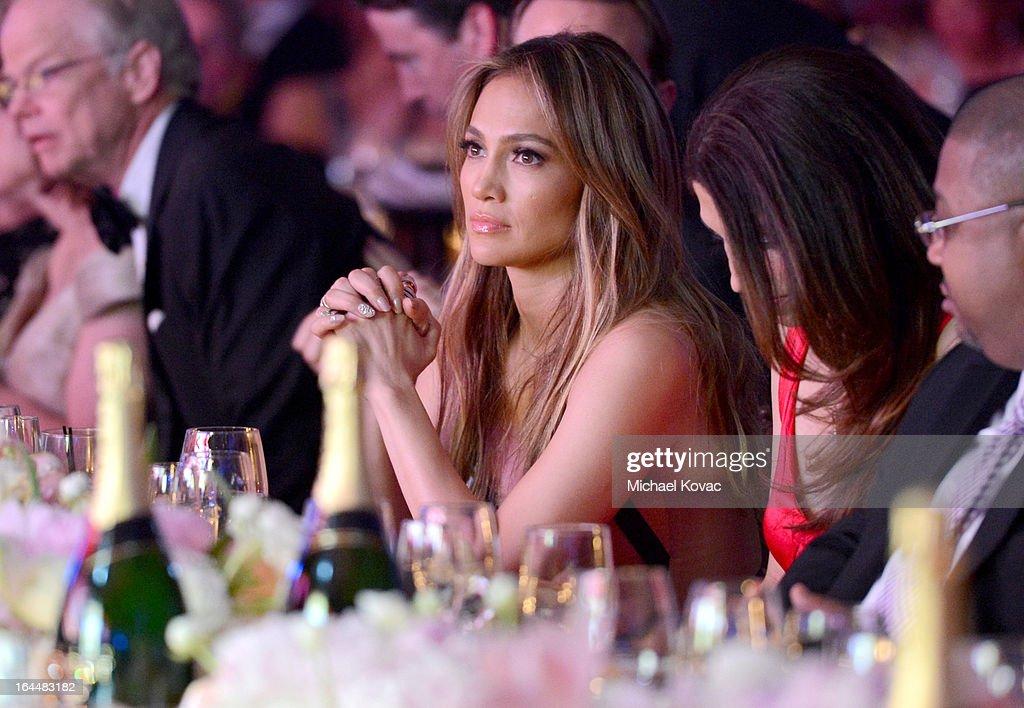 Singer Jennifer Lopez with Moet & Chandon at Celebrity Fight Night XIX at JW Marriott Desert Ridge Resort & Spa on March 23, 2013 in Phoenix, Arizona.