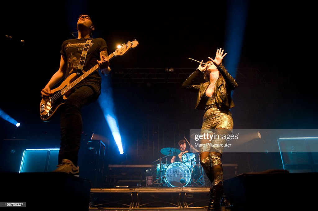 Singer Jennifer Weist of the German rock band Jennifer Rostock and bassist Christoph Deckert perform during their 'Schlaflos Tour', at the Palladium on February 11, 2014 in Cologne, Germany.