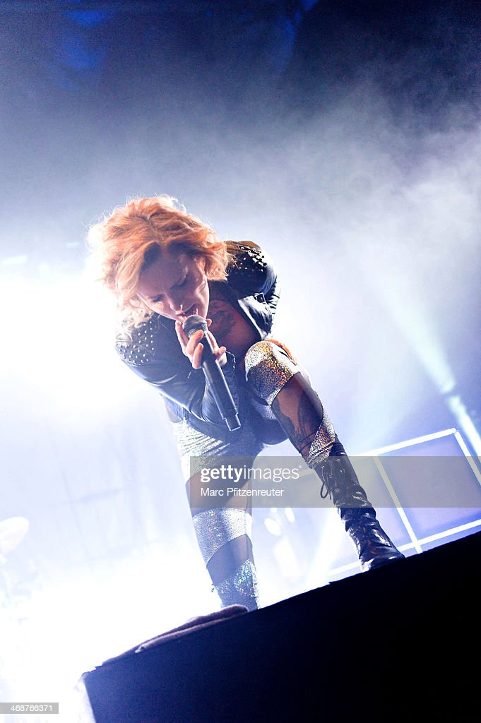 Singer Jennifer Weist of the German rock band Jennifer Rostock performs during her 'Schlaflos Tour', at the Palladium on February 11, 2014 in Cologne, Germany.
