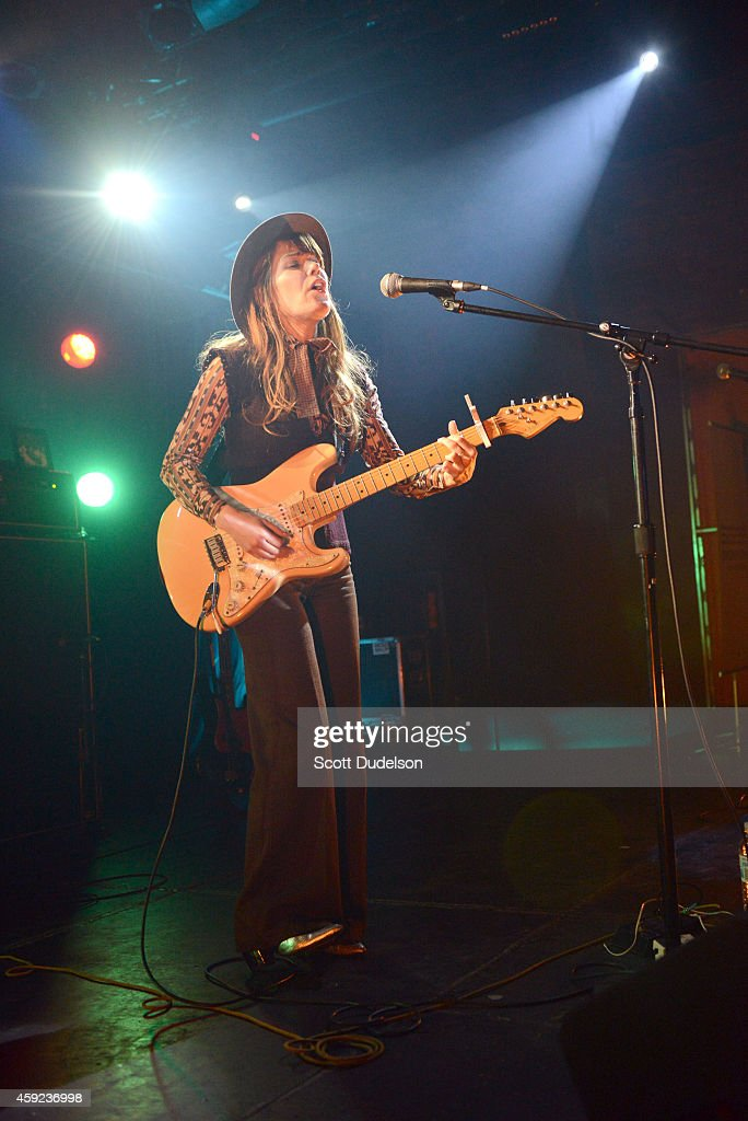 Singer Jenny Lewis of Rilo Kiley performs on stage at the Fun Lovers Unite! A Benefit for Moms Demand Action at the Echoplex on November 18, 2014 in Los Angeles, California.