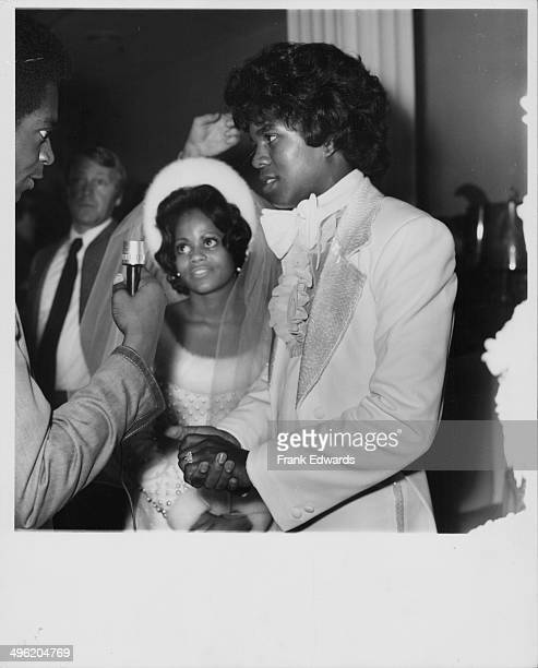Singer Jermaine Jackson one of the Jackson Five marrying Hazel Gordy at the Beverly Hills Hotel California December 1973