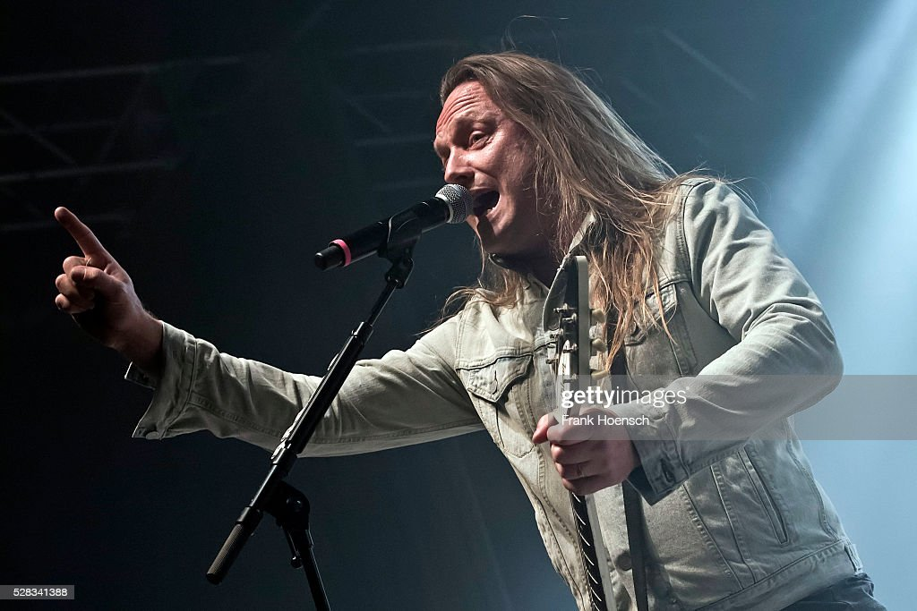 Singer Jesper Binzer of the Danish band D-A-D performs live during a concert at the Huxleys on May 4, 2016 in Berlin, Germany.