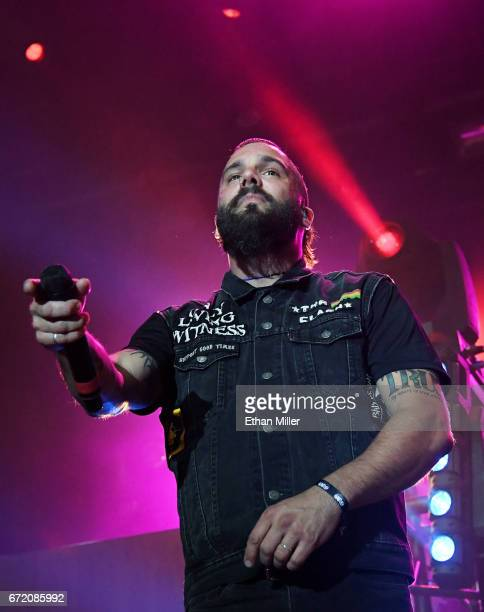 Singer Jesse Leach of Killswitch Engage performs during the Las Rageous music festival at the Downtown Las Vegas Events Center on April 21 2017 in...