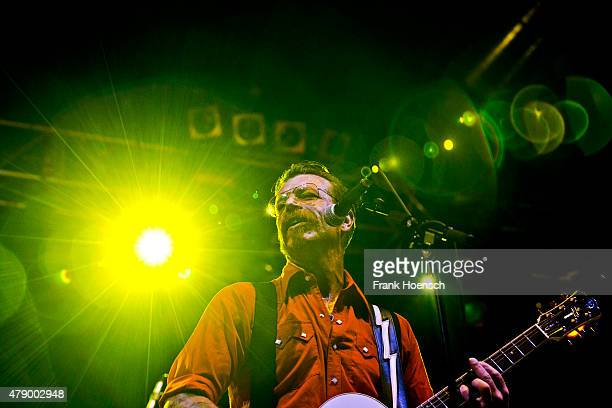 Singer Jesse 'The Devil' Hughes of the American band Eagles of Death Metal performs live during a concert at the Huxleys on June 29 2015 in Berlin...