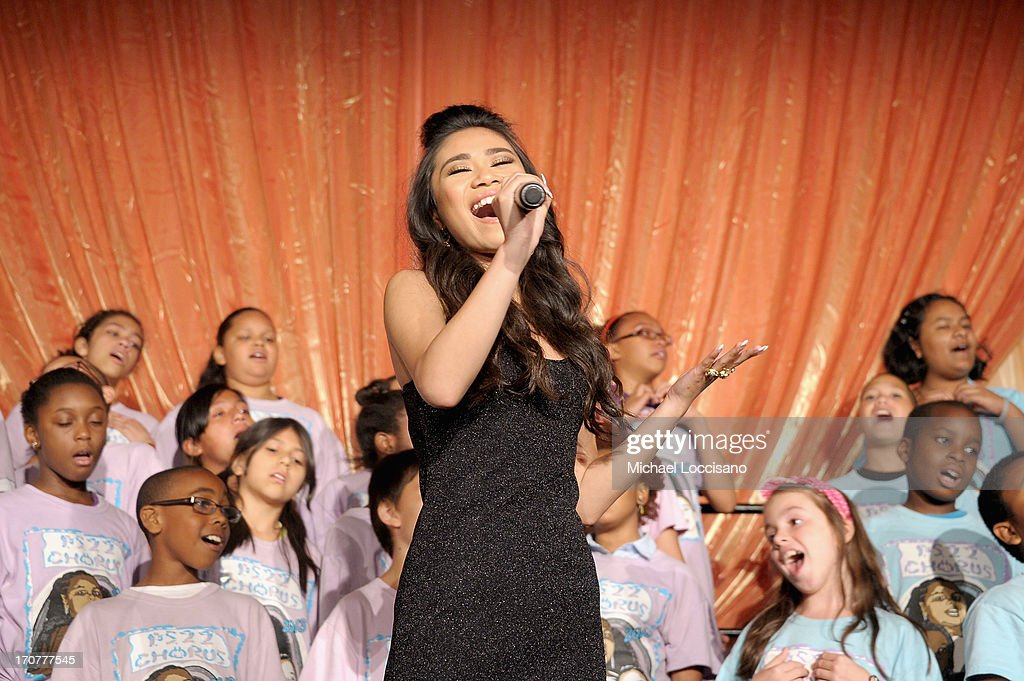 Singer <a gi-track='captionPersonalityLinkClicked' href=/galleries/search?phrase=Jessica+Sanchez&family=editorial&specificpeople=4373400 ng-click='$event.stopPropagation()'>Jessica Sanchez</a> and the PS22 Chorus perform at TrevorLIVE New York at Pier Sixty at Chelsea Piers on June 17, 2013 in New York City.