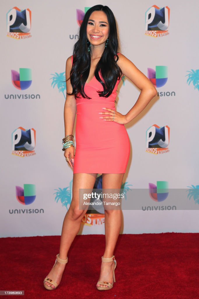 Singer Jessica Sanchez poses in the press room during the Premios Juventud 2013 at Bank United Center on July 18, 2013 in Miami, Florida.