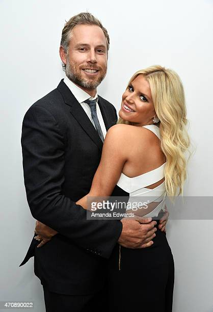 Singer Jessica Simpson and her husband Eric Johnson attend a special preview of 'The Gleason Project' at ZEFR Warehouse on April 23 2015 in Venice...