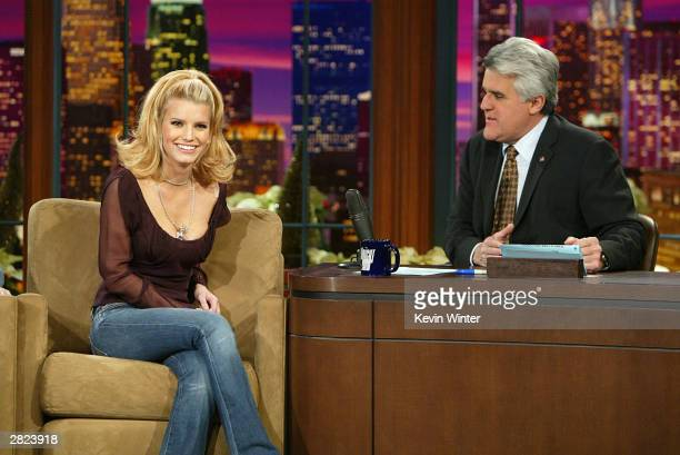 Singer Jessica Simpson appears on 'The Tonight Show with Jay Leno' at the NBC Studios on December 19 2003 in Burbank California