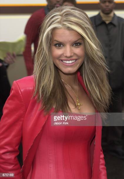 Singer Jessica Simpson arrives at the 28th Annual American Music Awards January 8 2001 in Los Angeles CA