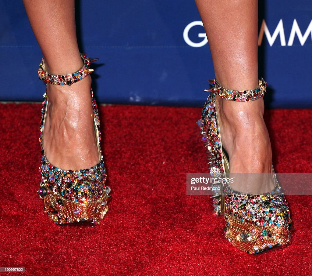 Singer Jessica Sutta (shoe detail) arrives at the Grammy Foundation's 15th Annual Music Preservation Project at Saban Theatre on February 7, 2013 in Beverly Hills, California.