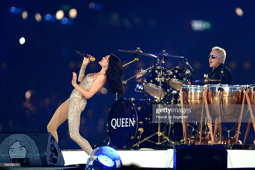 Singer Jessie J performs alongside Roger Taylor of Queen during the Closing Ceremony on Day 16 of the London 2012 Olympic Games at Olympic Stadium on August 12, 2012 in London, England.