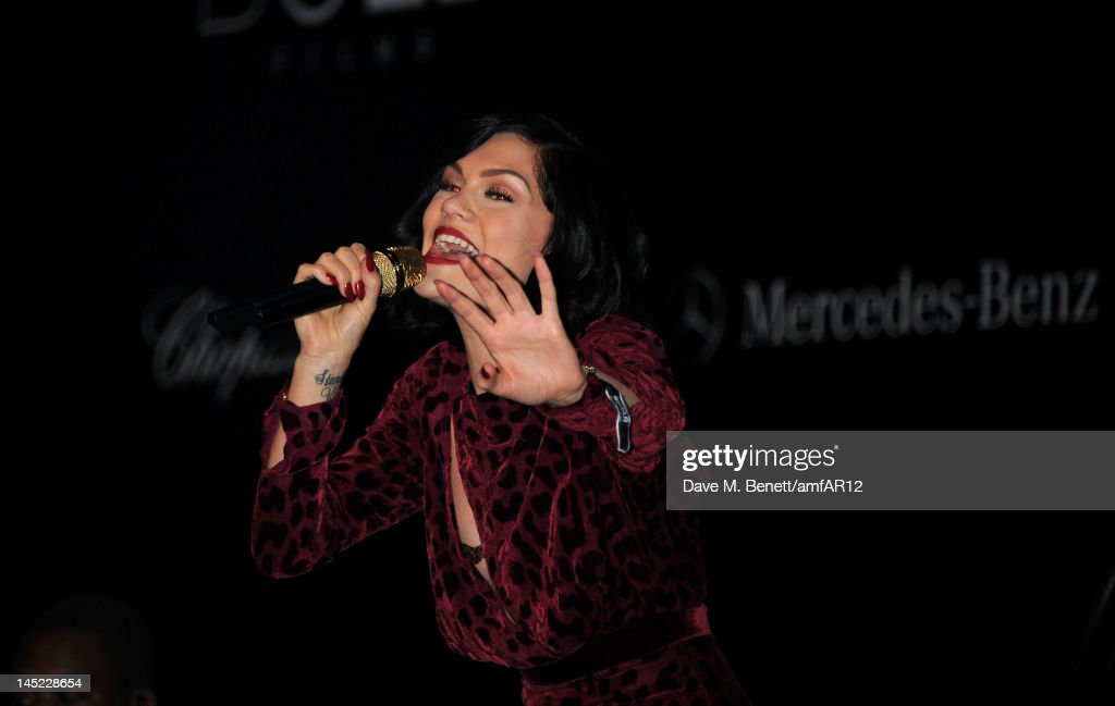 Singer <a gi-track='captionPersonalityLinkClicked' href=/galleries/search?phrase=Jessie+J&family=editorial&specificpeople=5737661 ng-click='$event.stopPropagation()'>Jessie J</a> performs during the 2012 amfAR's Cinema Against AIDS during the 65th Annual Cannes Film Festival at Hotel Du Cap on May 24, 2012 in Cap D'Antibes, France.