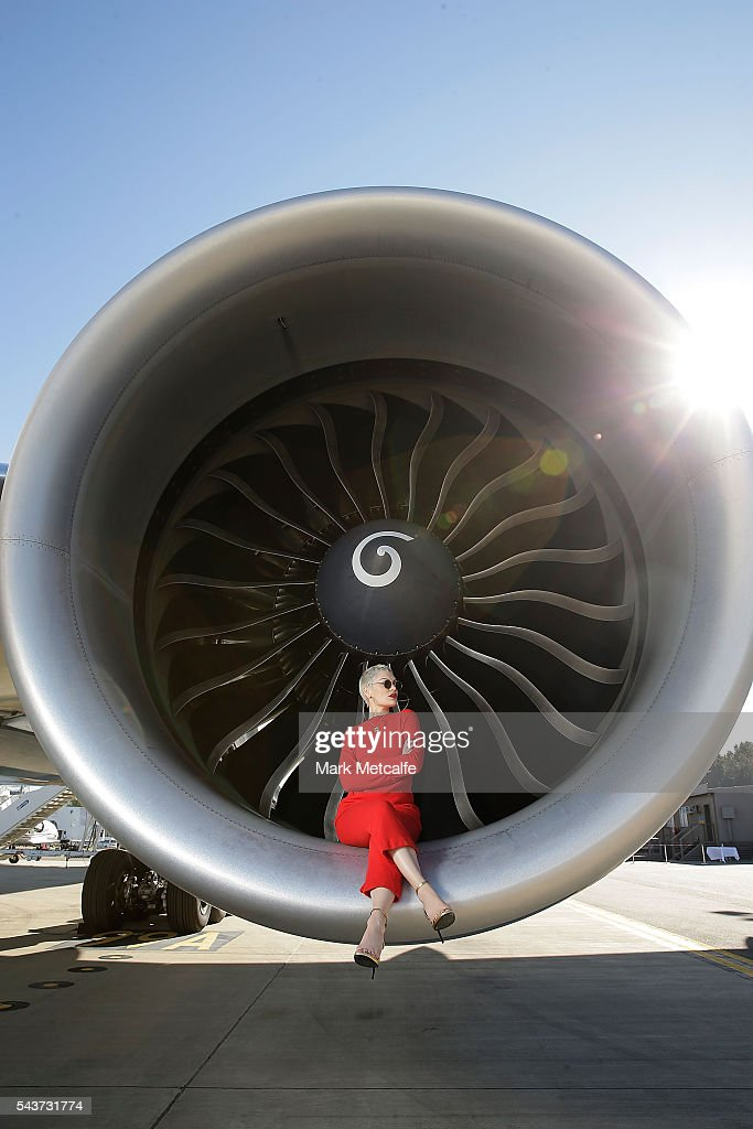 Singer <a gi-track='captionPersonalityLinkClicked' href=/galleries/search?phrase=Jessie+J&family=editorial&specificpeople=5737661 ng-click='$event.stopPropagation()'>Jessie J</a> poses in the engine of a British Airways 777-300 on June 30, 2016 in Sydney, Australia.The singer-songwriter played an acoustic set for VIPs and competition winners to celebrate the arrival of summer in the UK.
