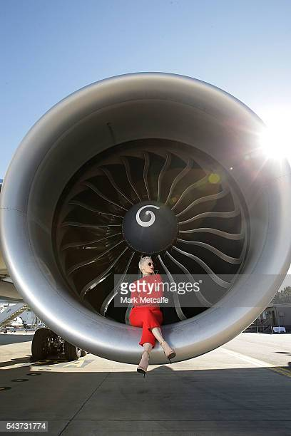 Singer Jessie J poses in the engine of a British Airways 777300 on June 30 2016 in Sydney AustraliaThe singersongwriter played an acoustic set for...