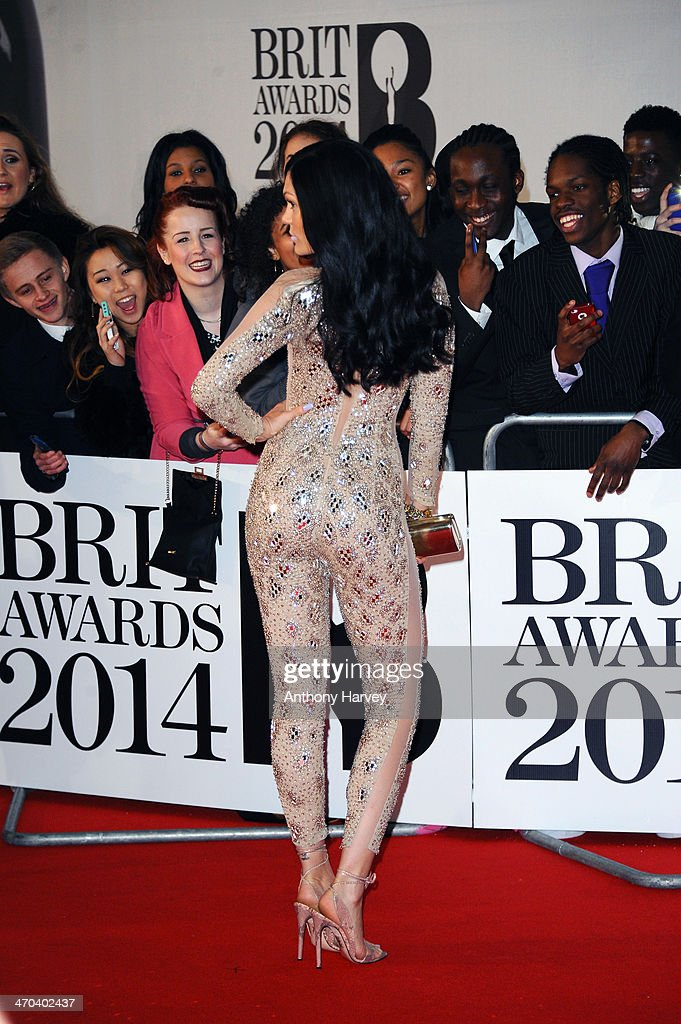 Singer Jessie J poses with fans as she attends The BRIT Awards 2014 at 02 Arena on February 19, 2014 in London, England.