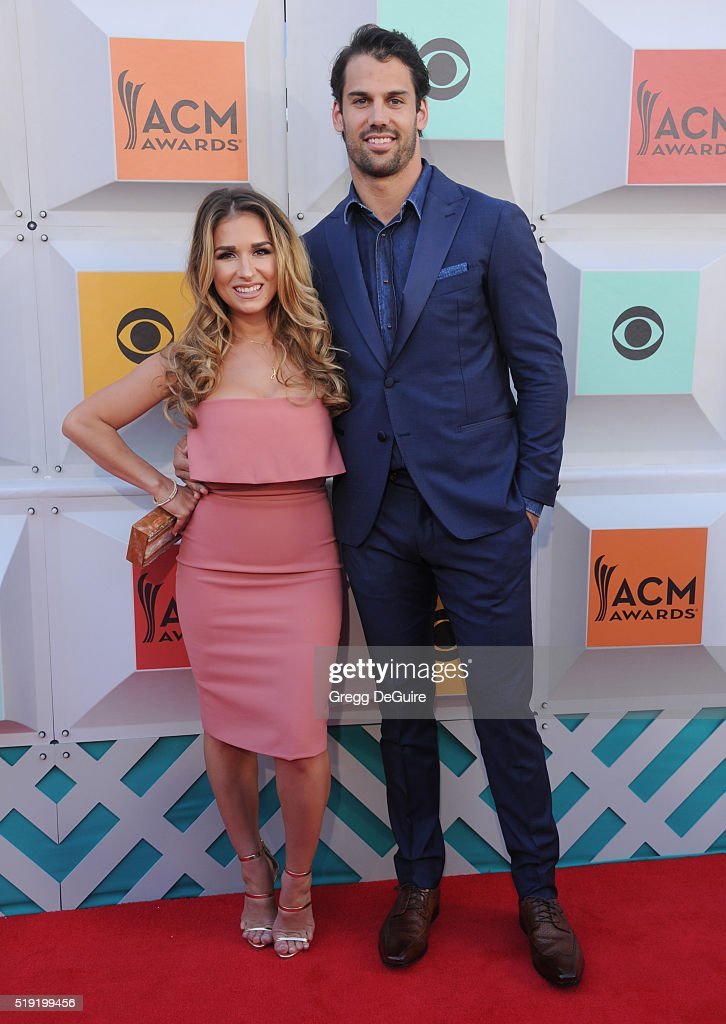 Singer <a gi-track='captionPersonalityLinkClicked' href=/galleries/search?phrase=Jessie+James+-+Country+Singer&family=editorial&specificpeople=6480712 ng-click='$event.stopPropagation()'>Jessie James</a> and NFL player <a gi-track='captionPersonalityLinkClicked' href=/galleries/search?phrase=Eric+Decker&family=editorial&specificpeople=3950667 ng-click='$event.stopPropagation()'>Eric Decker</a> arrive at the 51st Academy Of Country Music Awards at MGM Grand Garden Arena on April 3, 2016 in Las Vegas, Nevada.