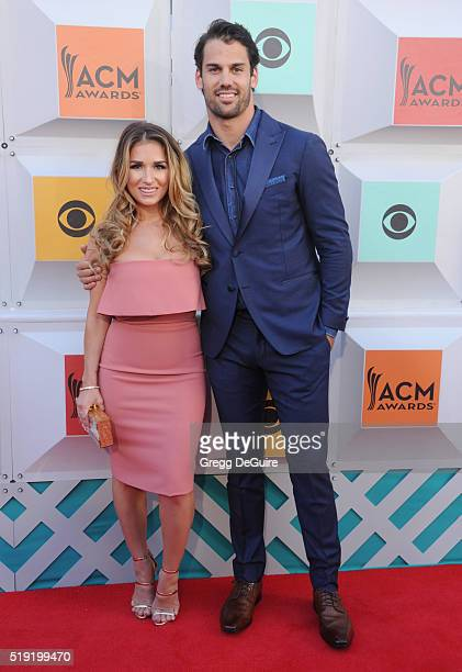 Singer Jessie James and NFL player Eric Decker arrive at the 51st Academy Of Country Music Awards at MGM Grand Garden Arena on April 3 2016 in Las...
