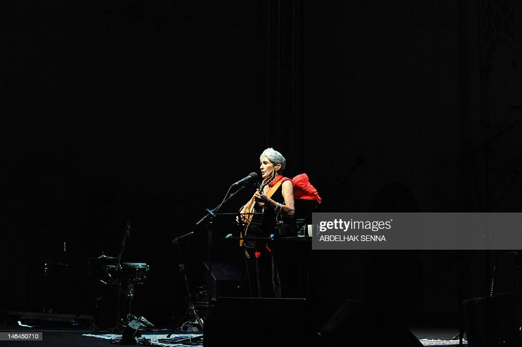 US singer Jessie Joan Baez performs late on June 16, 2012 during the 18th Sacred World Music Festival in Fes. AFP PHOTO / ABDELHAK SENNA