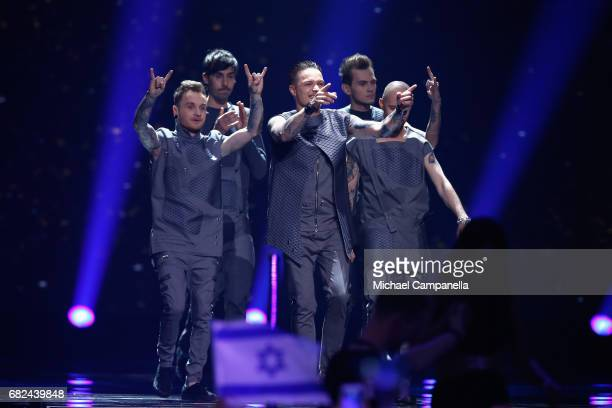 Singer Jewhen Halytsch of the band OTorvald representing Ukraine is seen on stage during the rehearsal for ''The final of this year's Eurovision Song...