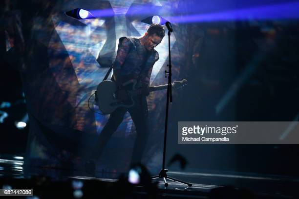Singer Jewhen Halytsch of the band OTorvald representing Ukraine performs the song 'Time' during the rehearsal for ''The final of this year's...