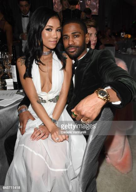 Singer Jhene Aiko and rapper Big Sean attend Bulgari at the 25th Annual Elton John AIDS Foundation's Academy Awards Viewing Party at on February 26...