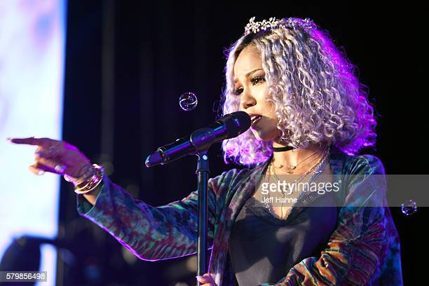 Singer Jhene Aiko performs during the Merry Jane presents the High Road Summer Tour at PNC Music Pavilion on July 24 2016 in Charlotte North Carolina