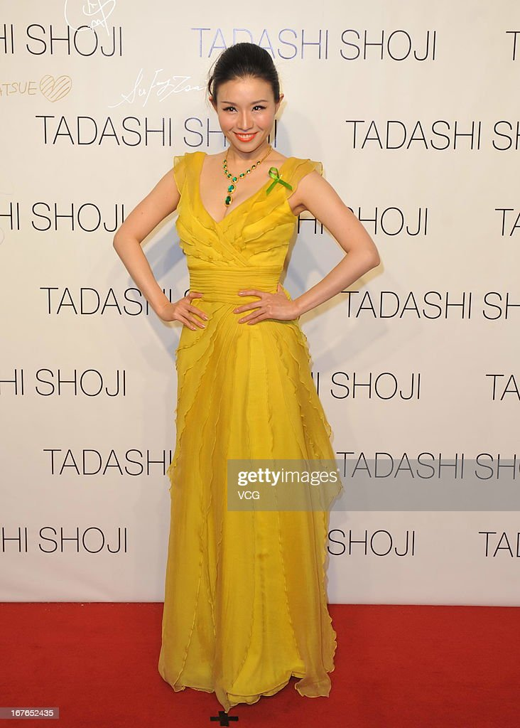 Singer Jia Ruhan attends the Tadashi Shoji Beijing Store Grand Opening at Beijing Parkview Green on April 26 2013 in Beijing China