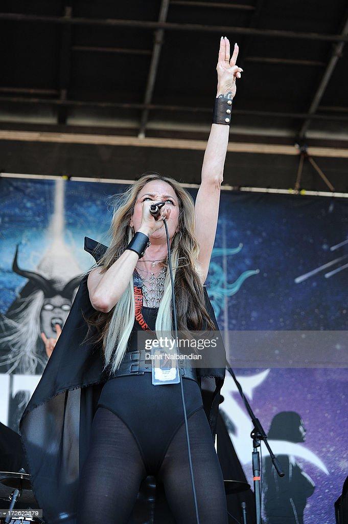 Singer Jill Janus of Huntress performs at Mayhem Festival on July 3, 2013 in Auburn, Washington.
