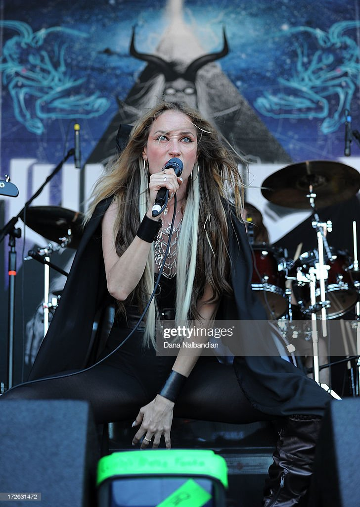 Singer Jill Janus of Huntress performs at Mayhem Festival on July 3, 2013 in Auburn, Washington.