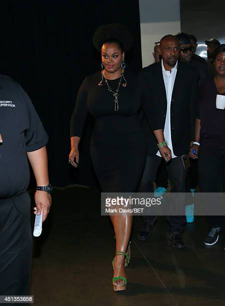 Singer Jill Scott backstage at the Maxwell Jill Scott Marsha Ambrosius and Candice Glover concert during the 2014 BET Experience At LA LIVE at...