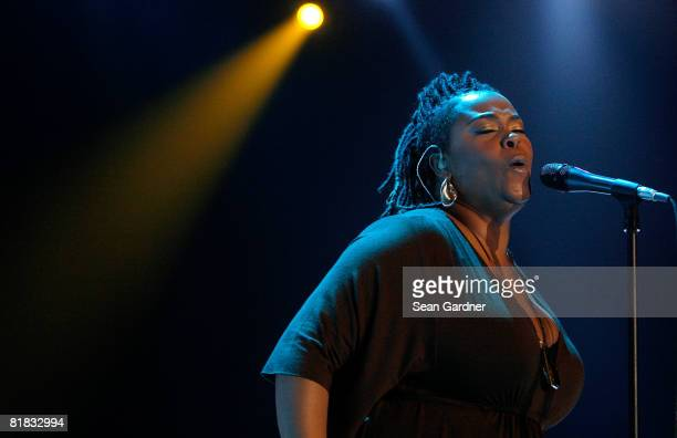 Singer Jill Scott performs during the 2008 Essence Music Festival at the Louisiana Superdome on July 5 2008 in New Orleans Louisiana
