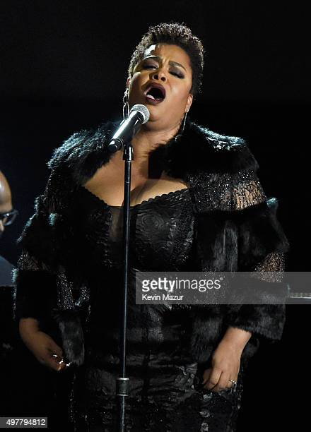 Singer Jill Scott performs onstage at AE Networks 'Shining A Light' concert at The Shrine Auditorium on November 18 2015 in Los Angeles California