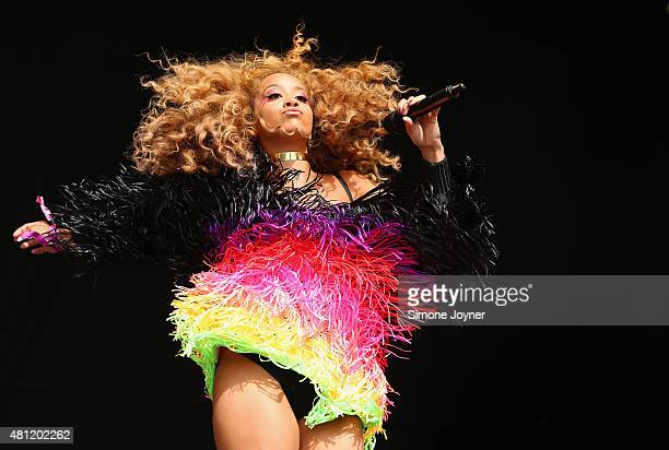 Singer Jillian Hervey of Lion Babe performs live on the Main Stage during day two of Lovebox Festival 2015 at Victoria Park on July 18 2015 in London...