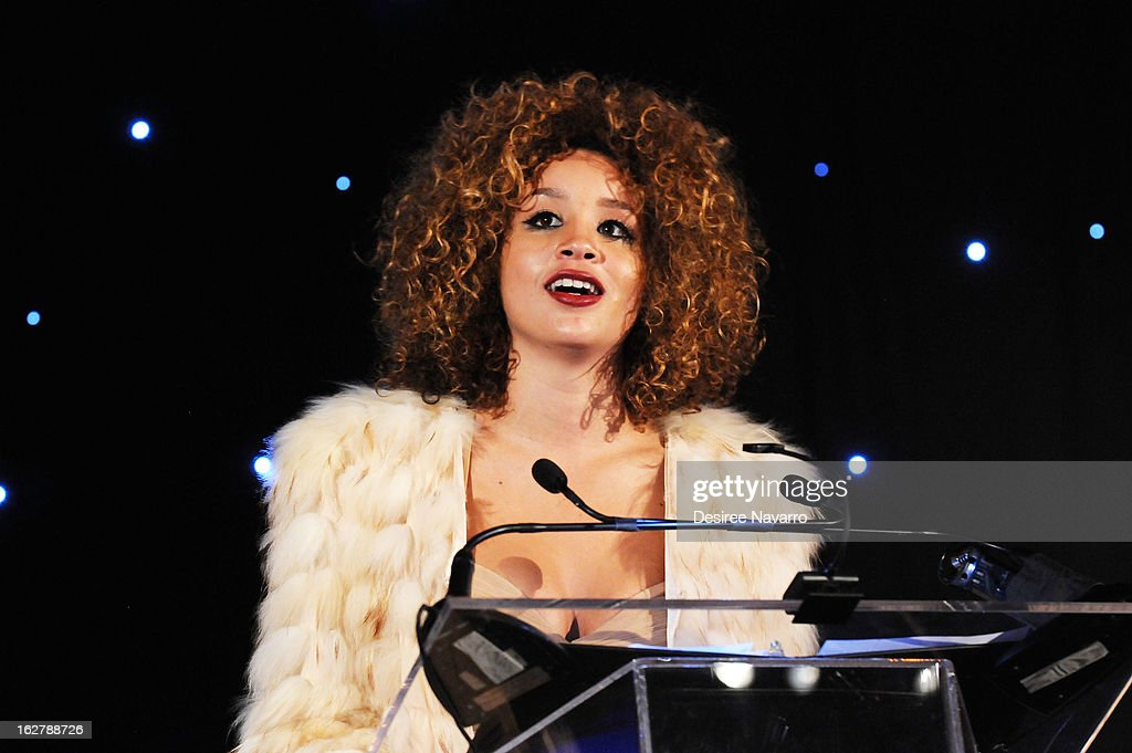 Singer Jillian Hervey speaks at the Dance Theatre Of Harlem 44th Anniversary Celebration at Mandarin Oriental Hotel on February 26, 2013 in New York City.