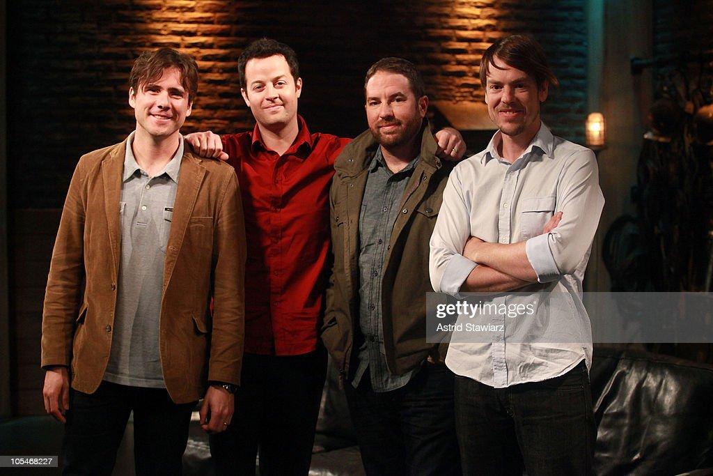 Singer Jim Adkins, guitarist Tom Linton, drummer Zach Lind and bassist Rick Burch of Jimmy Eat World visit fuse Studios on October 14, 2010 in New York City.