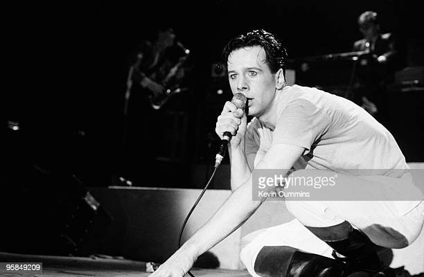 Singer Jim Kerr of Simple Minds performs on stage at the Futurama festival held in Stafford England on September 11 1981