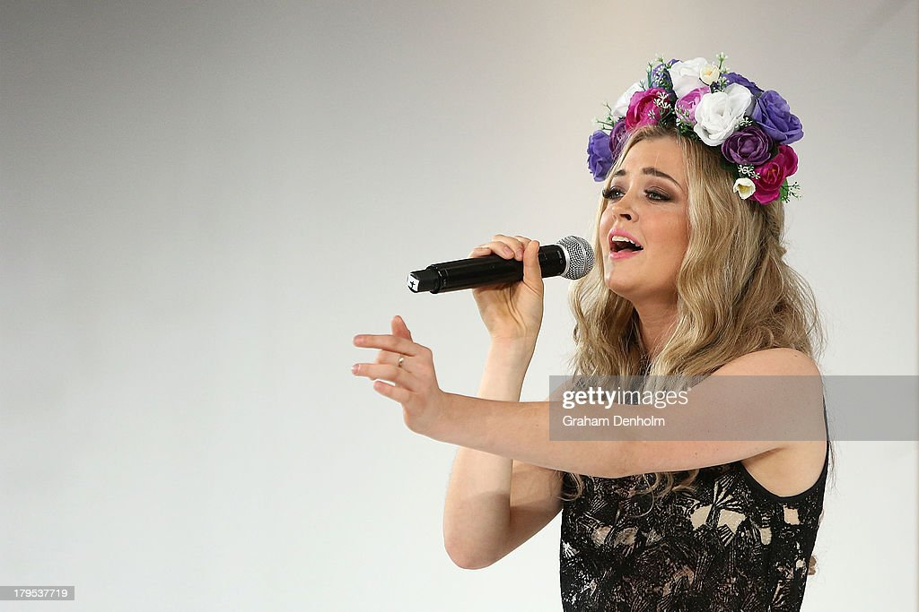 Singer Jiordan Tolli performs at the Myer Spring Fashion Lunch at Flemington Racecourse on September 5, 2013 in Melbourne, Australia.
