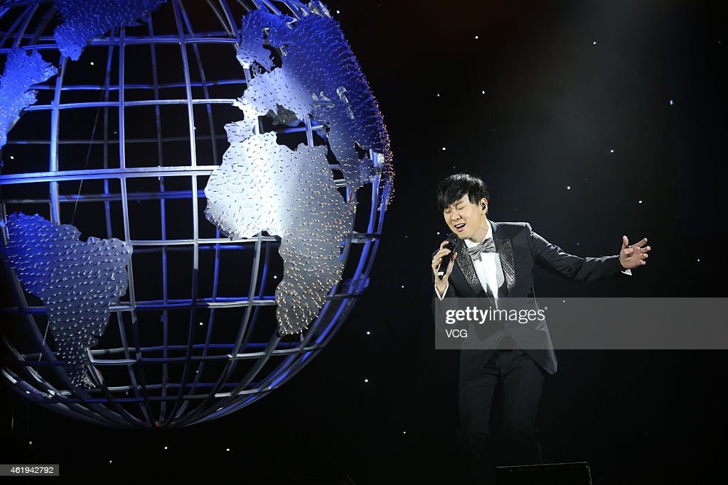 Singer <a gi-track='captionPersonalityLinkClicked' href=/galleries/search?phrase=JJ+Lin&family=editorial&specificpeople=3868242 ng-click='$event.stopPropagation()'>JJ Lin</a> celebrates his new album 'Brave New World' on January 22, 2015 in Beijing, China.