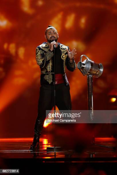 Singer Joci Papai representing Hungary performs the song 'Origo' during the final of the 62nd Eurovision Song Contest at International Exhibition...