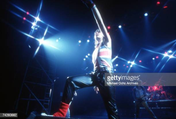 Singer Joe Elliott of the rock band 'Def Leppard' performs on stage in Los Angeles in September 1983 Photo by Michael Ochs Archives/Getty Images