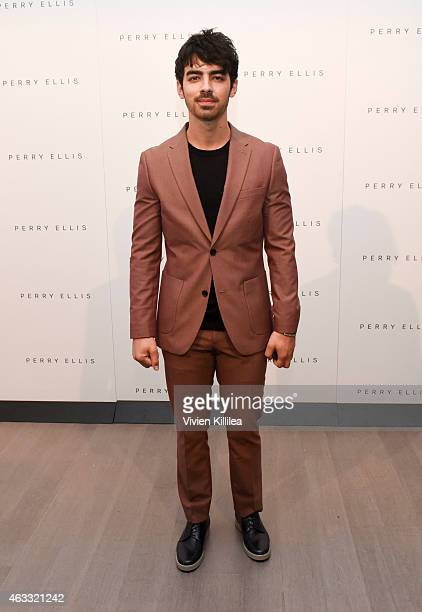 Singer Joe Jonas backstage at the Perry Ellis show during MercedesBenz Fashion Week Fall 2015 at Metropolitan West on February 12 2015 in New York...
