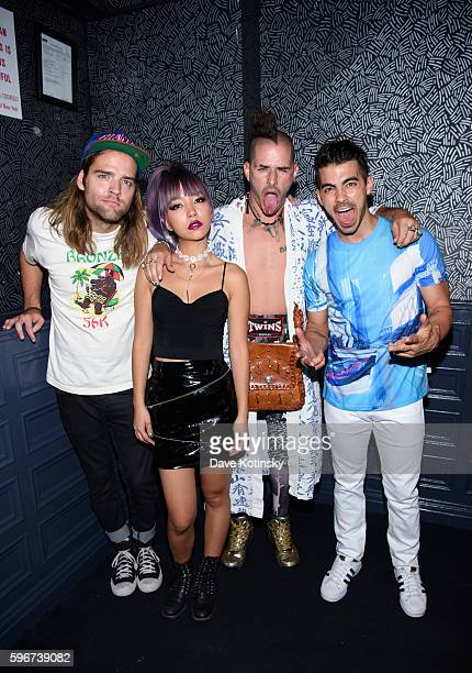 Singer Joe Jonas JinJoo Lee Cole Whittle and Jack Lawless of DNCE performs at the One Year Anniversary celebration of of the band DNCE at Up Down on...