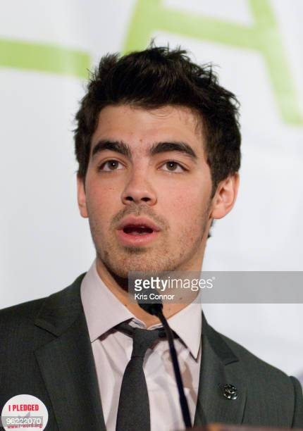 Singer Joe Jonas of the Jonas Brothers speaks during the Eunice Kennedy Shriver Act support reception at the Hart Building on January 27 2010 in...