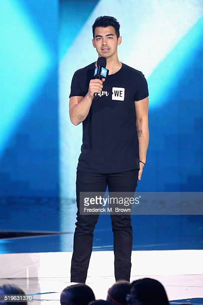 Singer Joe Jonas speaks onstage at WE Day California 2016 at The Forum on April 7 2016 in Inglewood California