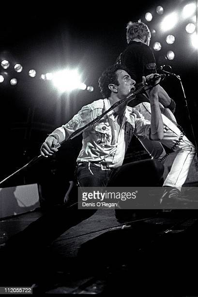 Singer Joe Strummer and bassist Paul Simonon performing with English punk group The Clash circa 1979