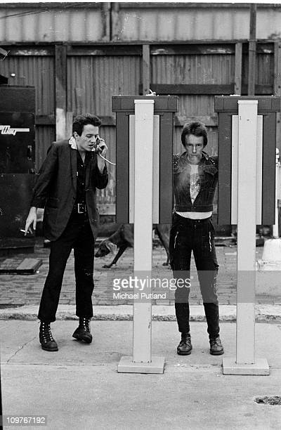 Singer Joe Strummer and drummer Nicky 'Topper' Headon of British punk group The Clash in New York in 1978