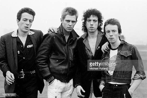 Singer Joe Strummer bassist Paul Simonon guitarist Mick Jones and drummer Nicky 'Topper' Headon of British punk group The Clash in New York in 1978