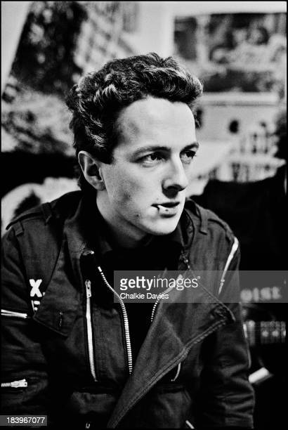Singer Joe Strummer of British punk group The Clash at manager Bernie Rhodes's 'Rehearsal Rehearsals' studio in Camden Town London April 1977